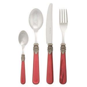 Столовые приборы с бордовыми ручками (вилка, нож, ложка столовая, ложка чайная)