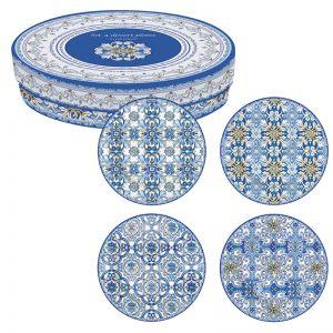 Набор из 4-х десертных тарелок Майолика (голубая)