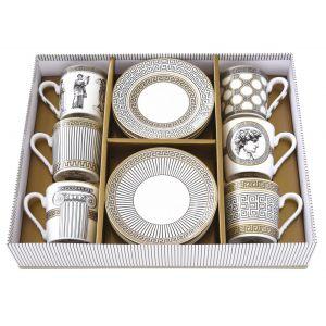 """Набор из 6 кофейных чашек и блюдец """"Palladium"""" в подарочной упаковке"""