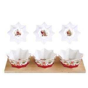 """Набор для закусок """"Christmas memories"""" из 3 чаш на бамбуковом подносе в подарочной упаковке"""