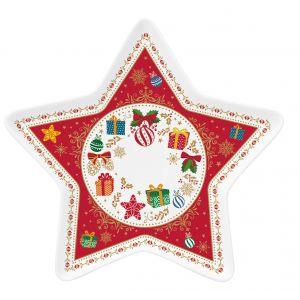 """Тарелка сервировочная """"Christmas ornaments"""" в виде звезды в подарочной упаковке"""
