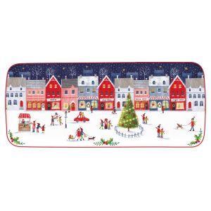 """Блюдо сервировочное прямоугольное """"Christmas Village"""" в подарочной упаковке"""