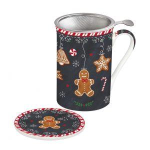 """Кружка заварочная с крышкой и ситечком """"Gingerbread"""" в подарочной упаковке"""