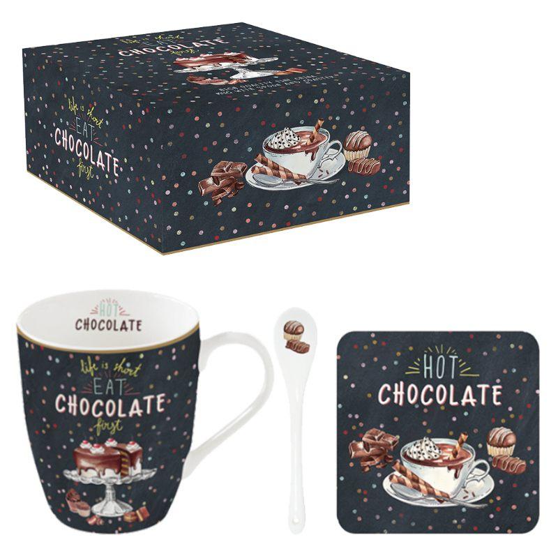 """Набор """"Hot Chocolate"""" (кружка на подставке и ложка) в подарочной упаковке"""