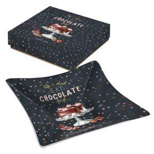 """Блюдо сервировочное стеклянное """"Hot Chocolate"""" (квадратное) в подарочной упаковке"""