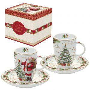 """Набор из 2 чашек с блюдцами для кофе """"Magic Christmas"""" в подарочной упаковке"""
