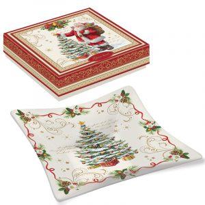 """Блюдо сервировочное стеклянное """"Magic Christmas"""" (квадратное) в подарочной упаковке"""