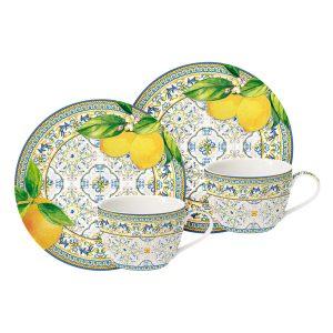 """Набор """"CAPRI AGRUMI"""": 2 чашки и 2 блюдца для кофе в подарочной упаковке"""