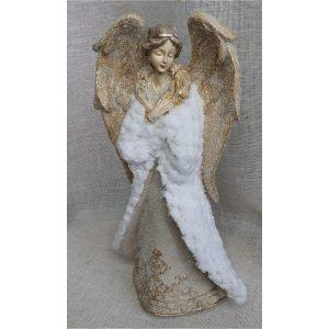 """Декор """"Ангел"""" в золотых одеждах и белой шубке"""