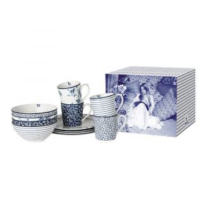 Набор посуды из 12 предметов (4 кружки, 4 тарелки обеденных, 4 салатника) сине-белый
