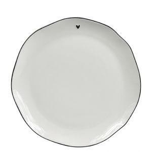 """Тарелка для завтрака """"White/little heart in black"""""""