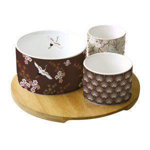 """Набор для закусок """"Окинава"""": 3 чаши на бамбуковом подносе в подарочной упаковке"""