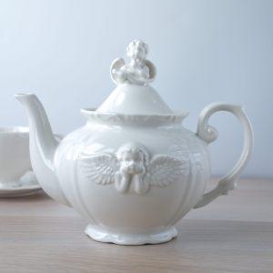 Чайник заварочный кремовый с Ангелочком
