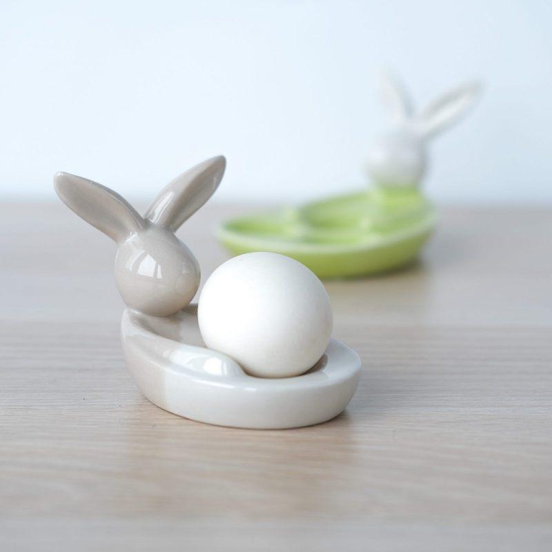 """Подставка для яиц """"С кроликом"""" (белый/кофейный)"""