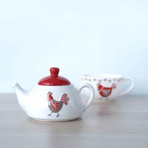 "Набор чайный: чайник и чашечка ""Курица и петушок"""