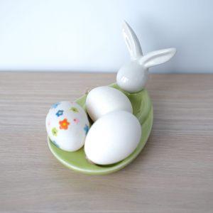 """Подставка для яиц  """"С кроликом"""" (белый/зеленый)"""