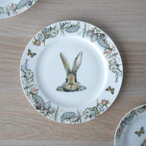 """Тарелка десертная """"Кролик в цветах"""""""