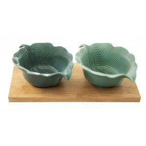 """Набор для закусок """"Madagascar"""" с 2 чашами-листками на бамбуковом подносе в подарочной упаковке"""