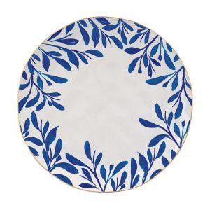 """Тарелка обеденная """"Elegance"""" с синими листочками"""