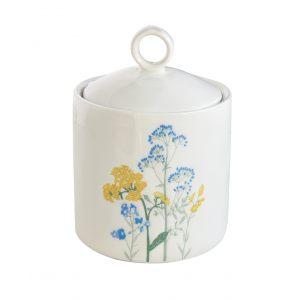 """Банка для хранения """"Mille fleurs"""" с желтыми и синими цветами"""