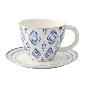 """Чашка с блюдцем """"Elegance"""" с мазками синего цвета в подарочной упаковке"""