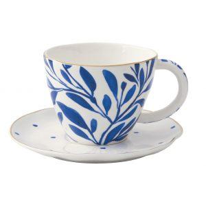 """Чашка с блюдцем """"Elegance"""" с синими листочками в подарочной упаковке"""