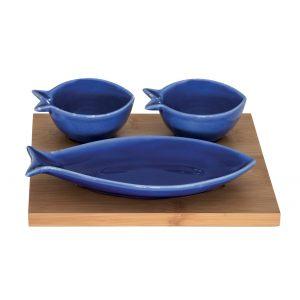 """Набор """"Sea friends"""" из 2 салатников и маленькой тарелки на бамбуковом подносе"""