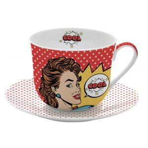 """Чашка и блюдце для завтрака """"Pop art"""" в подарочной упаковке"""