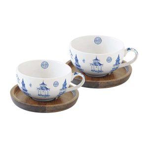 """Набор из 2-х чашек для кофе с крышками/подставками из акации """"Pagoda"""" в подарочной упаковке"""