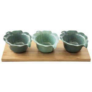 """Набор из 3-х салатников """"Madagascar"""" на подставке из бамбука  в подарочной упаковке"""