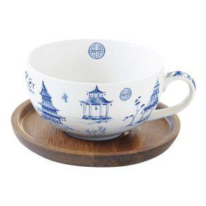 """Чашка с крышкой/подставкой из акации """"Pagoda"""" в подарочной упаковке"""