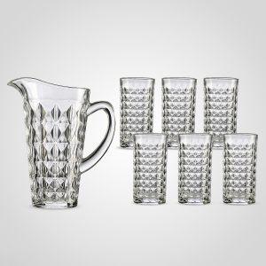 Набор из кувшина и 6 стаканов с объемным рисунком (плотное стекло)
