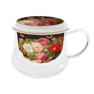 """Стеклянная кружка с фарфоровым ситечком """"Victorian Garden"""" в подарочной упаковке"""