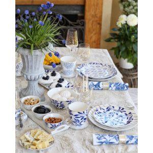 """Тарелка десертная """"Elegance"""" с синими листочками"""