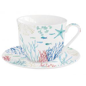"""Чашка и блюдце для завтрака """"Under the sea"""" в подарочной упаковке"""