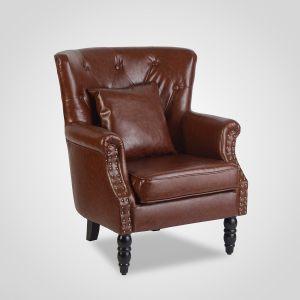 Кресло интерьерное мягкое в стиле лофт с подушкой (экокожа)