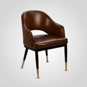 Стул-кресло в стиле лофт коричневый (экокожа)