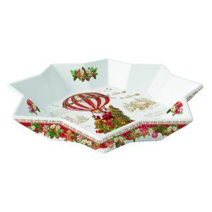 """Блюдо круглое """"Christmas memories"""" (Санта на воздушном шаре) в подарочной упаковке"""