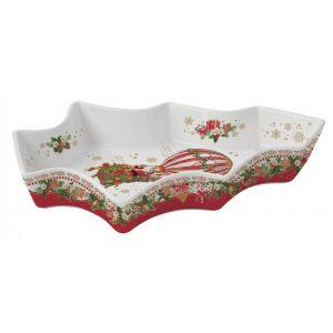 """Блюдо сервировочное """"Christmas memories"""" (Санта на воздушном шаре) в виде елочки в подарочной упаковке"""
