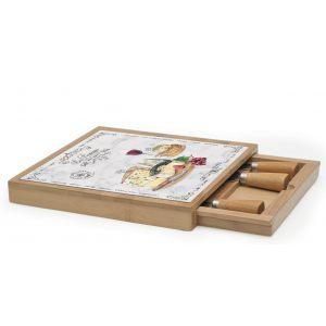 """Набор для сыра """"Les Fromages"""" (доска, выдвижной ящик с 4-мя ножами) в подарочной упаковке"""