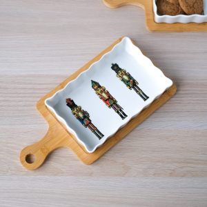 """Блюдо прямоугольное """"Пряничное Рождество"""" с подставкой из бамбука"""