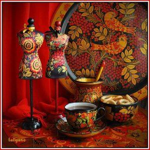Мини-манекен Хохлома красная рябина
