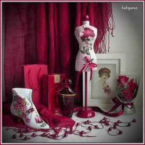 Мини-манекен Красная роза