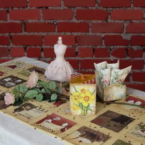 Льняная кофейная салфетка на стол