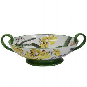 Ваза овальная декоративная для фруктов 40x24 см Орхидея