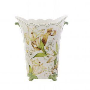 Ваза декоративная для цветов 30 см Белая Лилия