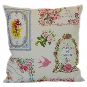 Льняная подушка Барокко (птички)