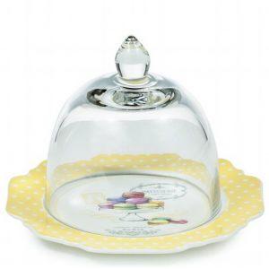 Десертная тарелка со стеклянной крышкой Люблю я макарони