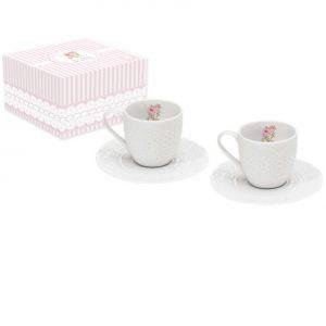 Набор из двух кофейных чашек с блюдцами Уютный Дом-Розы