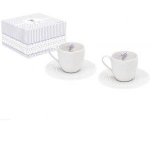 Набор из двух кофейных чашек с блюдцем Уютный Дом-Лаванда